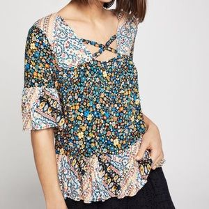 Floral Ruffle-Trimmed Top
